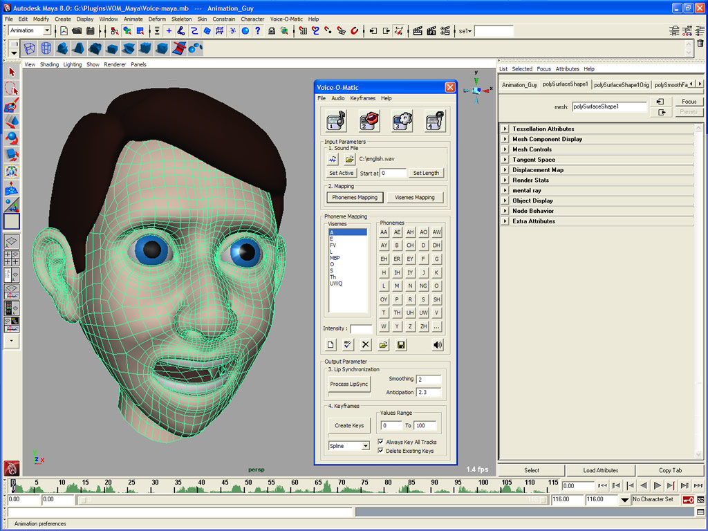 Automated lip sync animation in Autodesk Maya