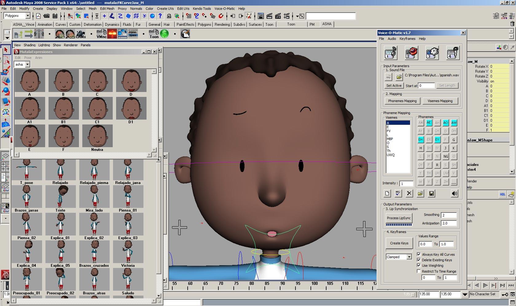Automated lip sync animation in Autodesk Maya: any rig, any