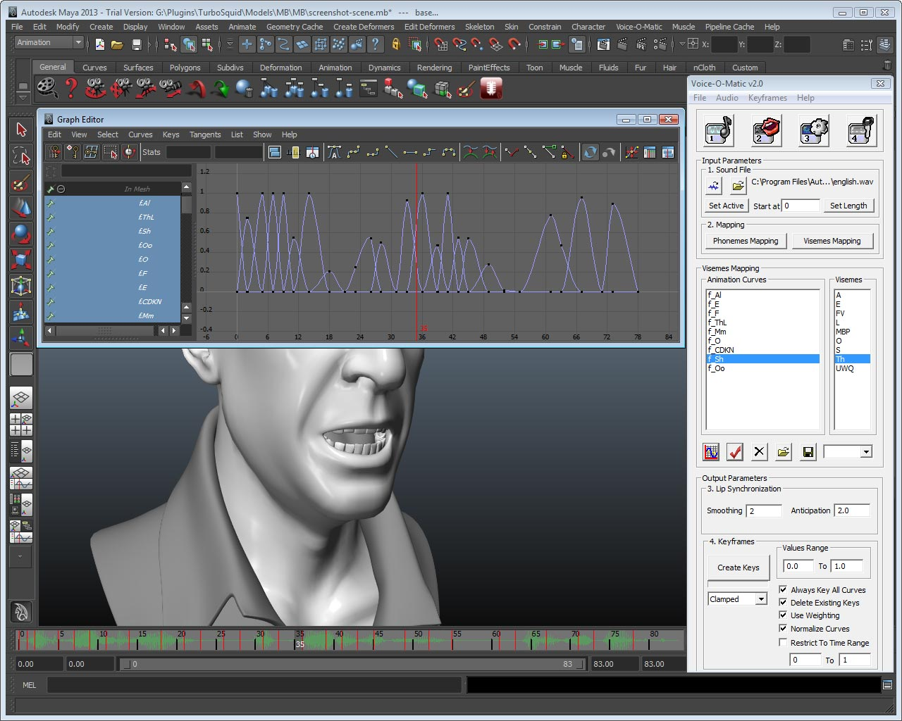 Automated lip sync animation in Autodesk Maya: any rig, any