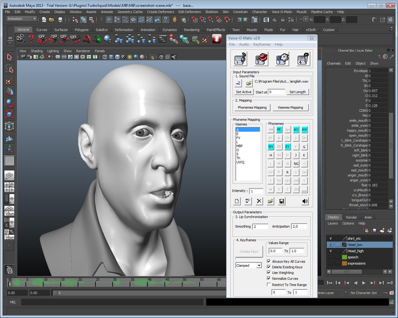 Automated lip sync animation in Autodesk Maya: any rig, any language